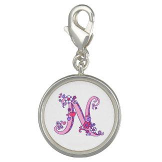 N letter monogram heart flower pink art charm