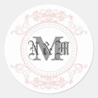 N & M Monogram Classic Round Sticker