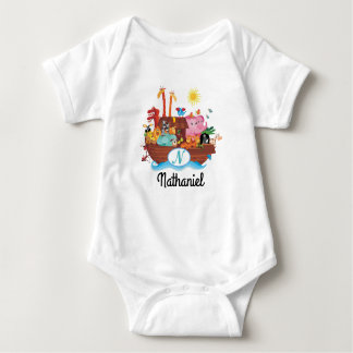 N Monogram Noah's Ark Personalized Baby T-shirt