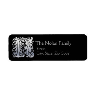 "N Monogram ""Silver Lace"" design Address Lables"