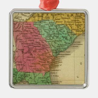 N & S Carolina 3 Metal Ornament