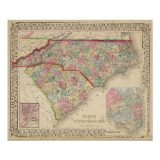 N & S Carolina Map by Mitchell Poster