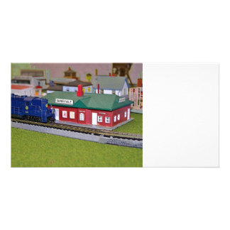 N Scale Model Train Village Personalized Photo Card
