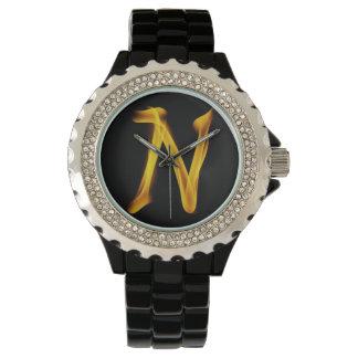 N Women's Rhinestone Black Enamel Watch