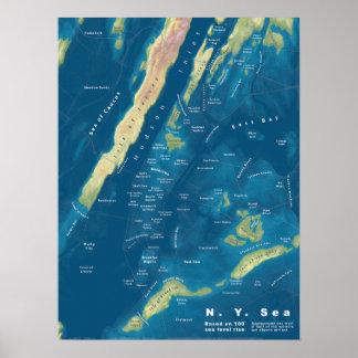 N. Y. Sea, 100' Sea Rise Map Poster