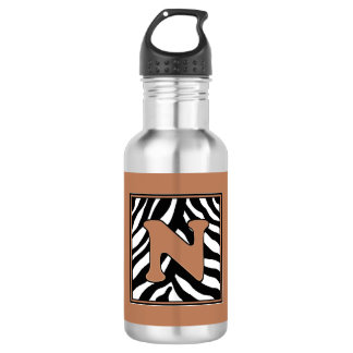 N Zebra Monogrammed Water Bottle