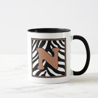 N-Zebra Skin Monogrammed Coffee Mug