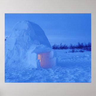 NA, Canada, Manitoba, Churchill. Arctic igloo Poster
