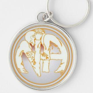 NA Hug Silver-Colored Round Keychain