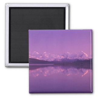 NA, USA, Alaska, Denali NP, Wonder Lake, Evening Square Magnet
