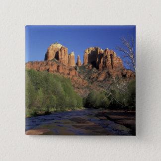 NA, USA, Arizona, Sedona. Cathedral Rock and Oak 2 Inch Square Button