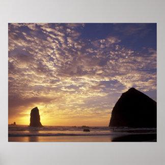 NA, USA, Oregon, Oregon Coast, Canon Beach with Poster