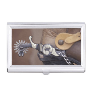 NA, USA, Texas, Lubbock Cowboy boot and spur Business Card Holder