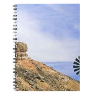 NA, USA, Texas Windmill and cliffs of Palo Duro Spiral Notebook