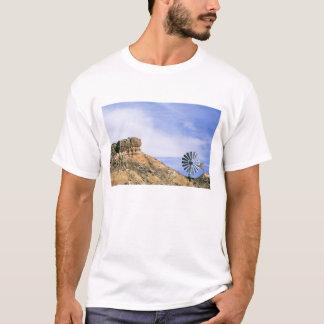 NA, USA, Texas Windmill and cliffs of Palo Duro T-Shirt