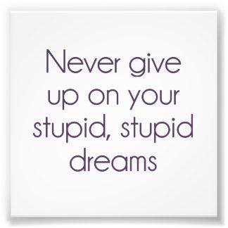 N'abandonnez jamais sur vos rêves stupides  tirage photo