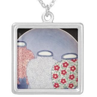 Nabeshima Dish, Edo Period Silver Plated Necklace
