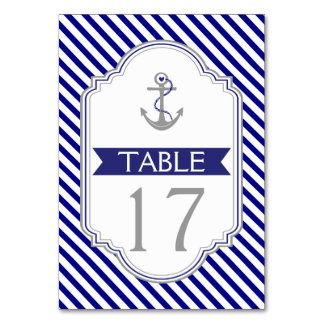 Naby blue anchor nautical wedding table number
