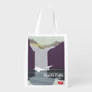 Nachi Falls Japan vintage style travel poster Grocery Bag