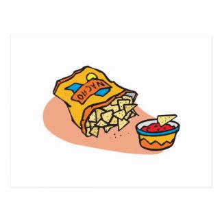 nachos and salsa dip postcards