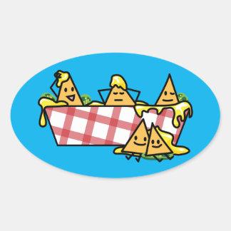 Nachos Melted Cheese Jalapeno Nacho tortilla chips Oval Sticker