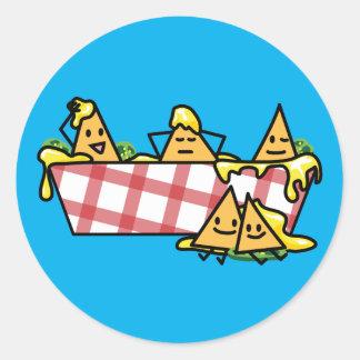 Nachos Melted Cheese Jalapeno Nacho tortilla chips Round Sticker