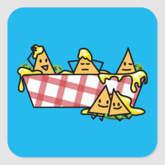 Nachos Melted Cheese Jalapeno Nacho tortilla chips Square Sticker