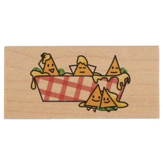 Nachos Melted Cheese Jalapeno Nacho tortilla chips Wood USB Flash Drive