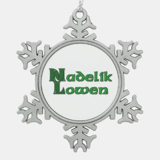 Nadelik Lowen - Cornish Christmas Snowflake Pewter Snowflake Ornament