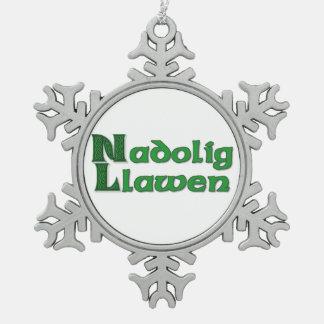 Nadolig Llawen - Welsh Christmas Snowflake Pewter Snowflake Ornament