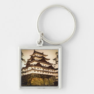Nagoya Castle in Ancient Japan Vintage 名古屋城 Silver-Colored Square Keychain