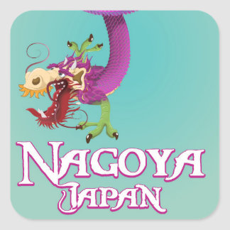 Nagoya Japan vintage travel poster. Square Sticker