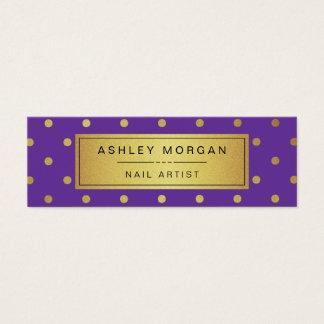 Nail Artist Mini Card - Purple White Gold Dots