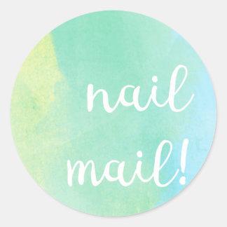Nail Mail! Sticker - bluey green watercolour