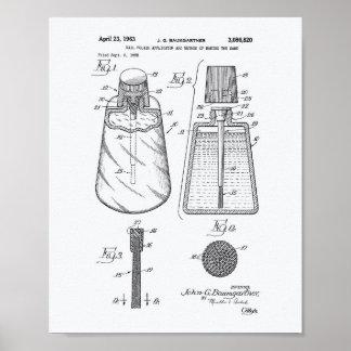 Nail Polish Applicator 1963 Patent Art White Paper Poster