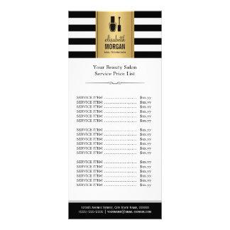 NAIL SALON Gold Black White Stripes Price List Rack Card Template