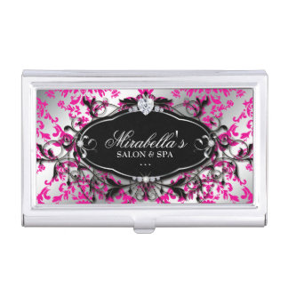 Nail Salon Jewelry Damask Heart Pink Cool Business Card Holder