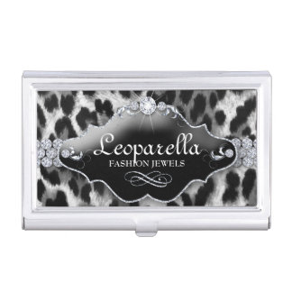 Nail Salon Leopard Bling Monogram Jewellery Business Card Holder