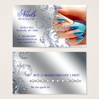 Nail Salon Loyalty Card Glitter Silver Blue Polish