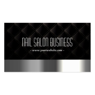 Nail Salon Modern Silver & Black Elegant Business Card