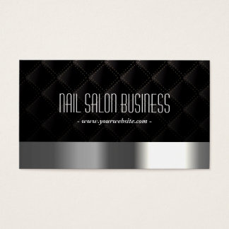 Nail Salon Modern Silver & Black Elegant Business Card