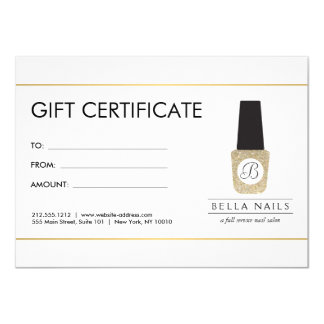 Nail Salon Monogram on Gold Glitter - Gift Card