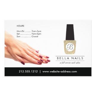 Nail Salon Monogram on Gold Glitter Nail Polish Personalized Flyer