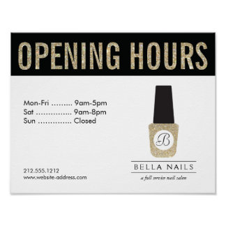 Nail Salon Monogram on Gold Glitter Nail Polish Poster