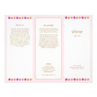 Nail Salon Pink Polish Trifold Brochure