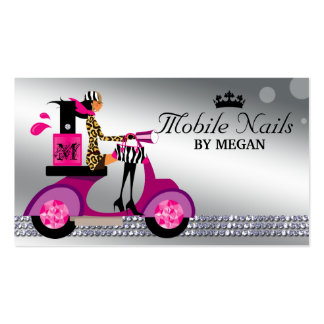 Nail Salon Scooter Girl Fashion Modern Silver Business Card Templates