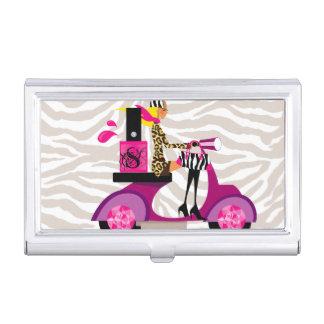 Nail Salon Scooter Girl Zebra Business Card Holder