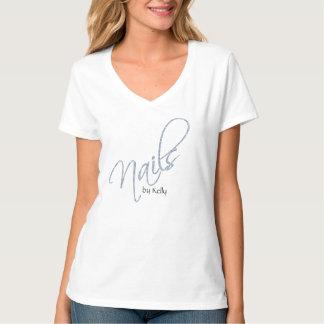 Nail Salon T-shirt Uniform Silver Glitter