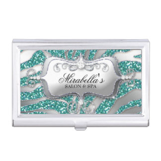 Nail Salon Zebra Glitter Monogram Modern Frame Business Card Holder