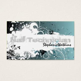 Nail Technician Business Card Grunge Splatter Teal